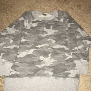 Aerie Crewneck Grey Camo Sweatshirt